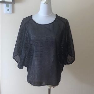 Zara net top in black and silver under-ton